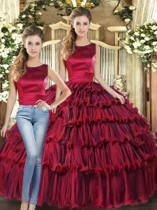 Wine Red Two Pieces Scoop Sleeveless Organza Floor Length Lace Up Ruffled Layers Sweet 16 Dress
