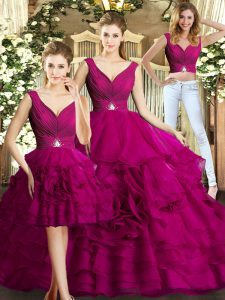 Fuchsia Sleeveless Organza Backless Quince Ball Gowns for Military Ball and Sweet 16 and Quinceanera