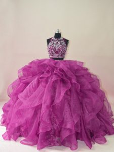 High End Sleeveless Beading and Ruffles Backless Sweet 16 Dresses with Fuchsia Brush Train