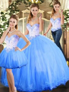 Discount Blue Ball Gowns Tulle Sweetheart Sleeveless Beading Floor Length Lace Up Vestidos de Quinceanera