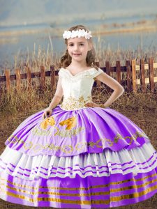 Unique Floor Length Lavender Pageant Dress Toddler Off The Shoulder Sleeveless Lace Up