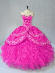Fuchsia Organza Lace Up Sweetheart Sleeveless Floor Length Quinceanera Dress Embroidery and Ruffles