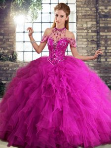 Fuchsia Lace Up Halter Top Beading and Ruffles Quinceanera Gowns Tulle Sleeveless