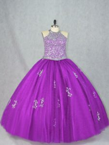 Halter Top Sleeveless Lace Up Sweet 16 Quinceanera Dress Purple Tulle