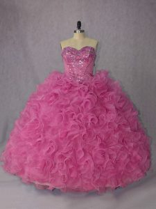 Halter Top Sleeveless Quinceanera Dresses Brush Train Beading and Ruffles Rose Pink Organza