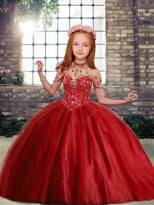 Admirable Floor Length Red Pageant Gowns High-neck Sleeveless Lace Up