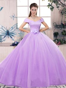 Short Sleeves Lace and Hand Made Flower Lace Up Quinceanera Dresses