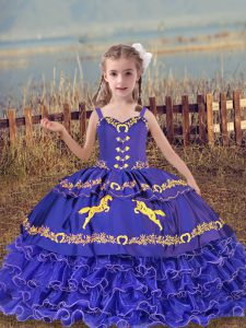 Blue Organza Lace Up Little Girls Pageant Dress Sleeveless Floor Length Beading and Embroidery and Ruffled Layers