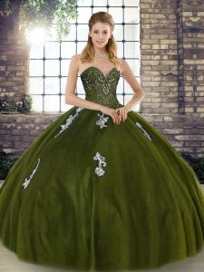 Wonderful Olive Green Sleeveless Tulle Lace Up Quince Ball Gowns for Military Ball and Sweet 16 and Quinceanera