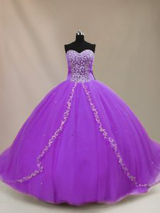 Purple Sleeveless Court Train Beading Quinceanera Dresses