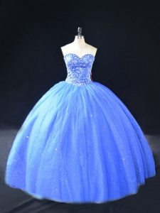 Noble Blue Sweetheart Neckline Beading Quinceanera Gowns Sleeveless Lace Up