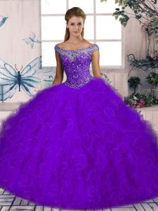 Purple Quinceanera Gowns Tulle Brush Train Sleeveless Beading and Ruffles