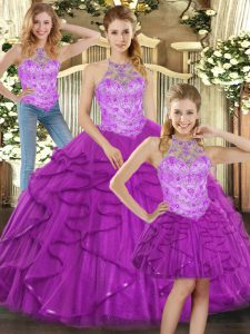 Trendy Halter Top Sleeveless Lace Up 15th Birthday Dress Purple Tulle