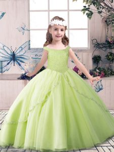 Off The Shoulder Sleeveless Little Girls Pageant Dress Wholesale Floor Length Beading Yellow Green and Pink And White Tulle