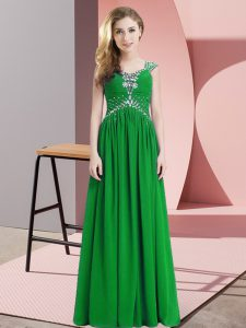 Clearance Green Cap Sleeves Chiffon Homecoming Dress for Prom and Party and Military Ball