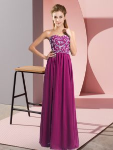 Fuchsia Empire Beading Prom Dress Lace Up Chiffon Sleeveless Floor Length