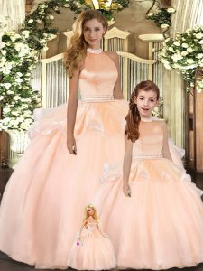 Peach Quinceanera Gowns Sweet 16 and Quinceanera with Beading Halter Top Sleeveless Backless