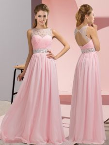 Sleeveless Floor Length Beading Backless Prom Gown with Baby Pink