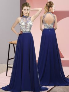 Empire Sleeveless Royal Blue Prom Dresses Brush Train Backless