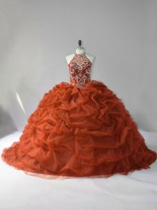 Glamorous Lace Up 15 Quinceanera Dress Brown for Sweet 16 and Quinceanera with Beading and Pick Ups Court Train