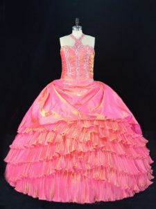 Graceful Rose Pink Sleeveless Floor Length Beading and Ruffled Layers Lace Up Quinceanera Gown