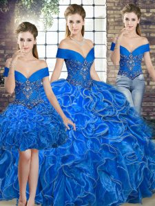 Spectacular Royal Blue Sleeveless Organza Lace Up Quinceanera Dresses for Military Ball and Sweet 16 and Quinceanera