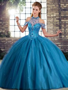 Fashion Blue Tulle Lace Up Quinceanera Dresses Sleeveless Brush Train Beading