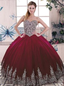 Sleeveless Tulle Floor Length Side Zipper Quinceanera Dress in Burgundy with Beading and Embroidery