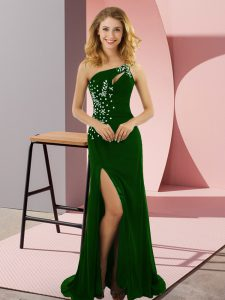 Fabulous Sweep Train Column/Sheath Celebrity Prom Dress Green One Shoulder Elastic Woven Satin Sleeveless Lace Up