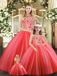 Tulle Sleeveless Floor Length Sweet 16 Dresses and Embroidery