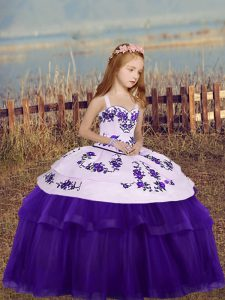 Hot Sale Eggplant Purple Girls Pageant Dresses Party and Wedding Party with Embroidery Straps Sleeveless Side Zipper