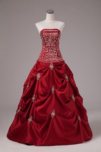 Decent Wine Red Lace Up 15 Quinceanera Dress Embroidery and Pick Ups Sleeveless Floor Length