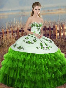 Fashionable Sleeveless Lace Up Floor Length Embroidery and Ruffled Layers and Bowknot Quinceanera Gowns