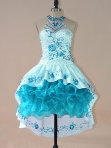 High Low Aqua Blue Homecoming Dress Satin and Organza Sleeveless Embroidery and Ruffles