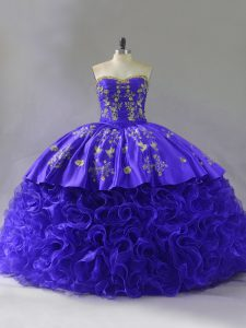 Pretty Purple Lace Up Quinceanera Gowns Embroidery and Ruffles Sleeveless Floor Length Brush Train