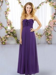 Chiffon Sweetheart Sleeveless Lace Up Ruffles Wedding Guest Dresses in Purple