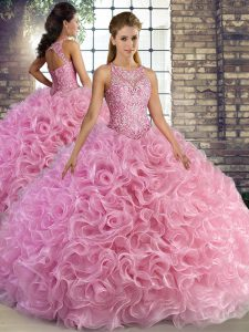 Edgy Rose Pink Sleeveless Floor Length Beading Lace Up Quinceanera Gowns