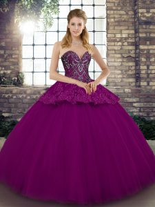 Sumptuous Fuchsia Ball Gowns Beading and Appliques Sweet 16 Dresses Lace Up Tulle Sleeveless Floor Length