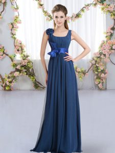 Custom Fit Navy Blue Wedding Guest Dresses Wedding Party with Belt and Hand Made Flower Straps Sleeveless Zipper
