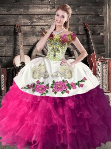 Deluxe Fuchsia Sleeveless Floor Length Embroidery and Ruffles Lace Up Sweet 16 Dress