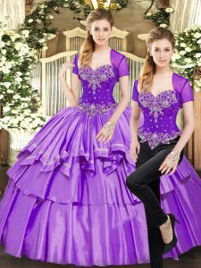 Amazing Lavender Sleeveless Beading and Ruffled Layers Floor Length Quinceanera Gown