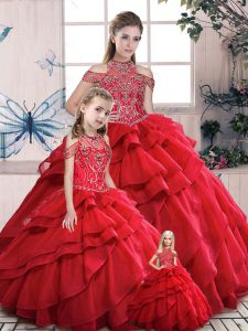 Red Lace Up High-neck Beading and Ruffles Quinceanera Dress Organza Sleeveless