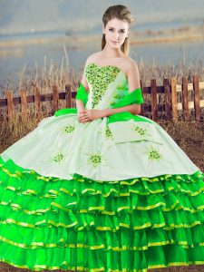 Green Lace Up Quinceanera Gowns Beading and Ruffled Layers Sleeveless Floor Length