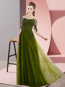 Affordable Floor Length Olive Green Damas Dress Chiffon Half Sleeves Beading and Lace