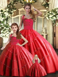 Discount Floor Length Red Sweet 16 Dresses Tulle Sleeveless Appliques