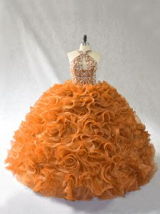 Super Brush Train Ball Gowns Ball Gown Prom Dress Orange and Brown Halter Top Organza Sleeveless Lace Up
