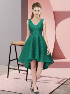 Exceptional Sleeveless High Low Lace Zipper Bridesmaid Dress with Peacock Green