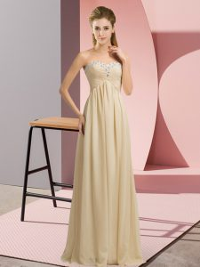 Chiffon Sweetheart Sleeveless Lace Up Beading and Ruching Dress for Prom in Champagne
