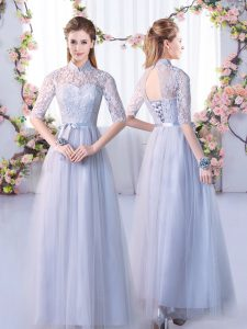 Trendy Floor Length Empire Half Sleeves Grey Dama Dress Lace Up