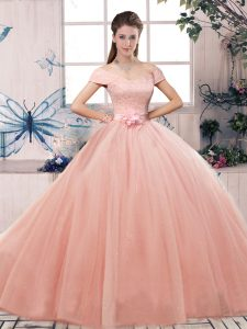 Deluxe Pink Quinceanera Gowns Military Ball and Sweet 16 and Quinceanera with Lace and Hand Made Flower Off The Shoulder Short Sleeves Lace Up